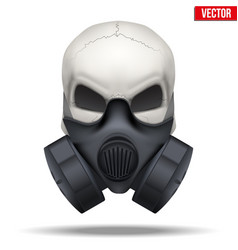Human skull with respirator mask vector
