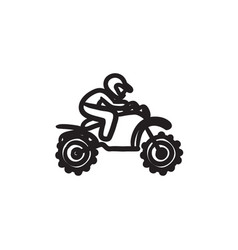 Man riding motocross bike sketch icon vector