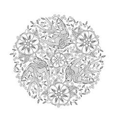 Mandala with three ornate beautiful flying birds vector