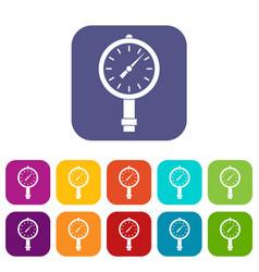 Manometer or pressure gauge icons set flat vector