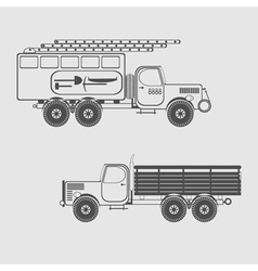 Monochrome icon set with special purpose vehicle vector