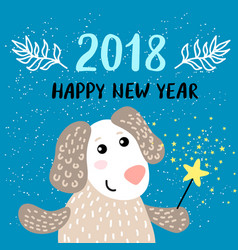 New year 2018 greeting card with dog vector