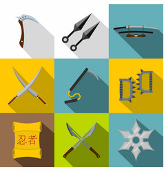 Ninja tools icon set flat style vector