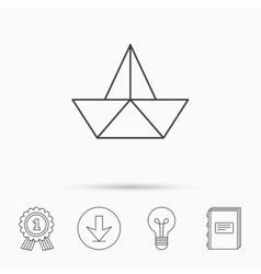 Paper boat icon Origami ship sign vector image