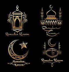 ramadan kareem golden logo set vector image vector image