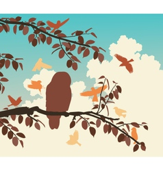 Songbirds mobbing owl vector