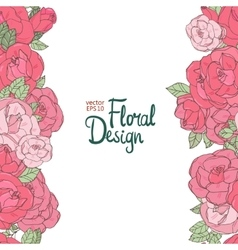 Vintage wedding border with pink roses vector image