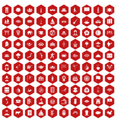 100 dish icons hexagon red vector