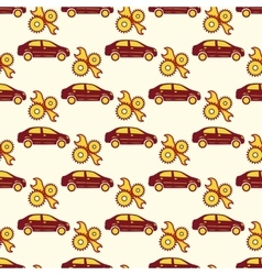 Automotive seamless pattern with car and service vector