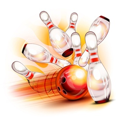 Bowling ball crashing into the shiny pins vector image