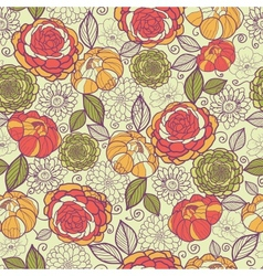 Garden peony flowers and leaves seamless pattern vector