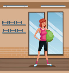 Woman sports training fitball gym workout vector