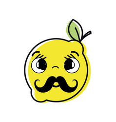 Kawaii nice shy lemon fruit vector
