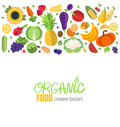 Vegetables and fruits header vector