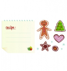 Christmas cookies with recipe vector image