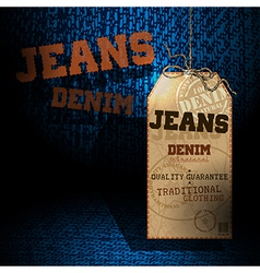 Jeans background tag vector