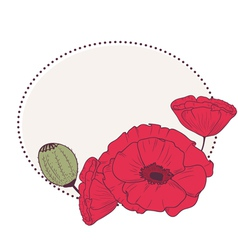 Retro frame with poppy flowers vector