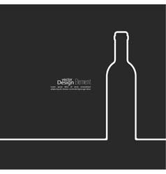 Ribbon in the form of wine bottle with shadow and vector