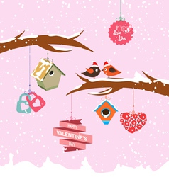 Valentine day birdhouse for winter vector