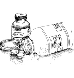 Bottles of pills vector