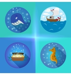 Sea theme flat icons vector