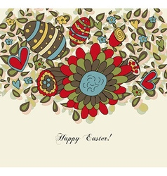 Floral easter card with eggs vector