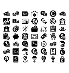 Euro banking icons vector