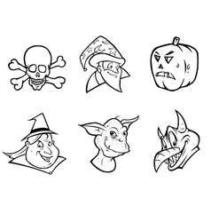 Halloween collection outline vector