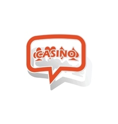 Casino message sticker orange vector