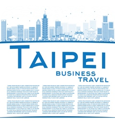 Outline taipei skyline with blue landmarks vector