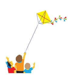 Children with a kite vector