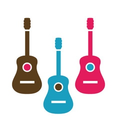 Acoustic guitar is simple colors vector