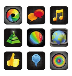 Set with application square icons vector