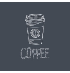 Coffee Sketch Style Chalk On Blackboard Menu Item vector image