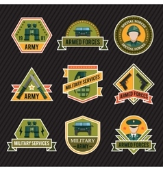 Flat army emblem set vector