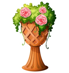 A big pot with a flowering plant vector image vector image