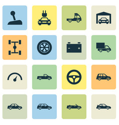 Auto icons set collection of hatchback van vector