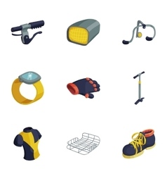 Bicycle equipment icons set cartoon style vector
