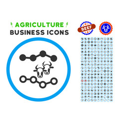 Cattle dotted charts rounded icon with set vector