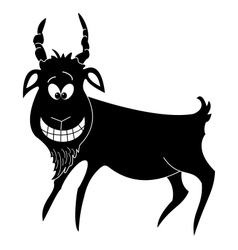 Cheerful goat black silhouette vector image