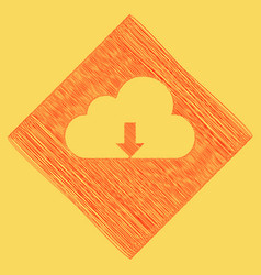 Cloud technology sign red scribble icon vector