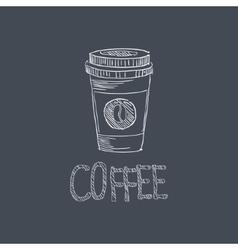 Coffee Sketch Style Chalk On Blackboard Menu Item vector image