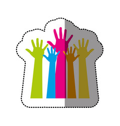 color hands up icon vector image