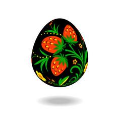 Easter egg ornament hohloma vector
