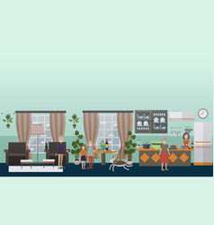 family characters at home flat icons set vector image vector image