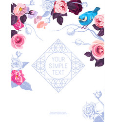 flyer template with lovely half-colored rose vector image vector image