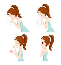Girl clean face set side vector