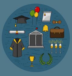 Graduational student party objects vector