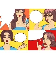 GREAT SET of beautiful colorful cartoon bunette vector image vector image
