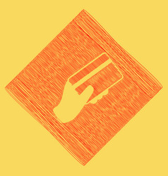 Hand holding a credit card red scribble vector